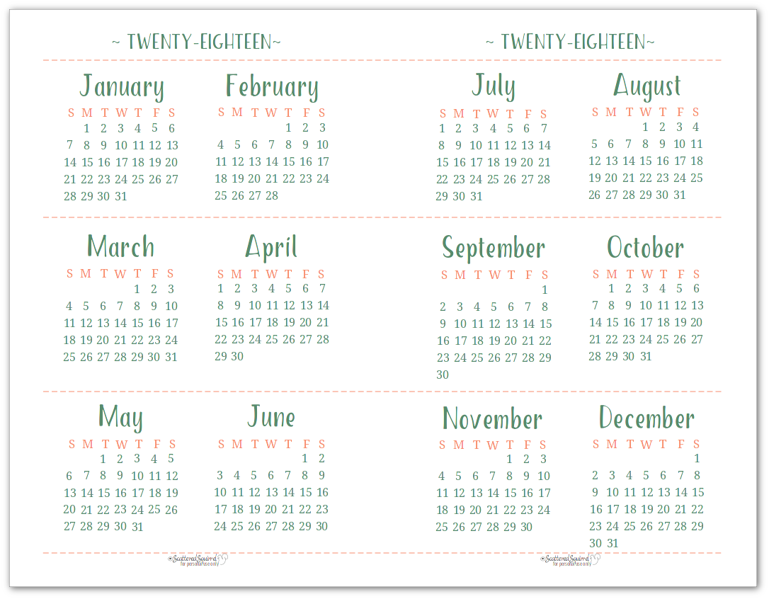 half size or half page 2018 dated yearly calendar printable