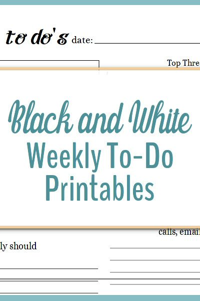 These black and white weekly to-do printables are great for keeping track of what you need to do each week.