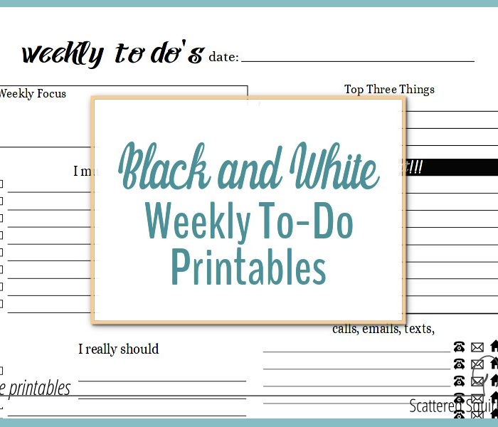 Black and White Weekly To-Do List Printables