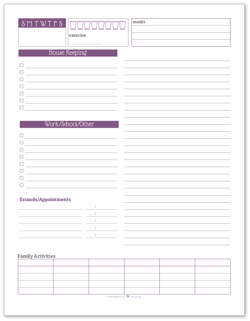 Daily Tasklist Planner in Deep Lilac