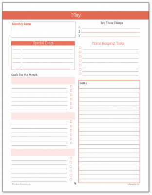 Monthly Planner Printable for May