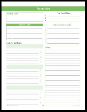 Monthly Planner Printable for September