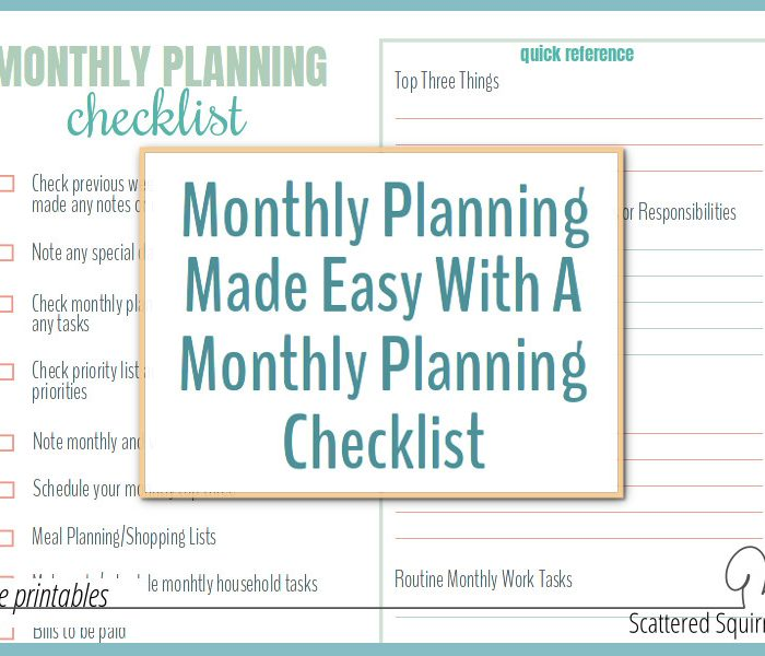 Monthly Planning Made Easy with a Monthly Planning Checklist