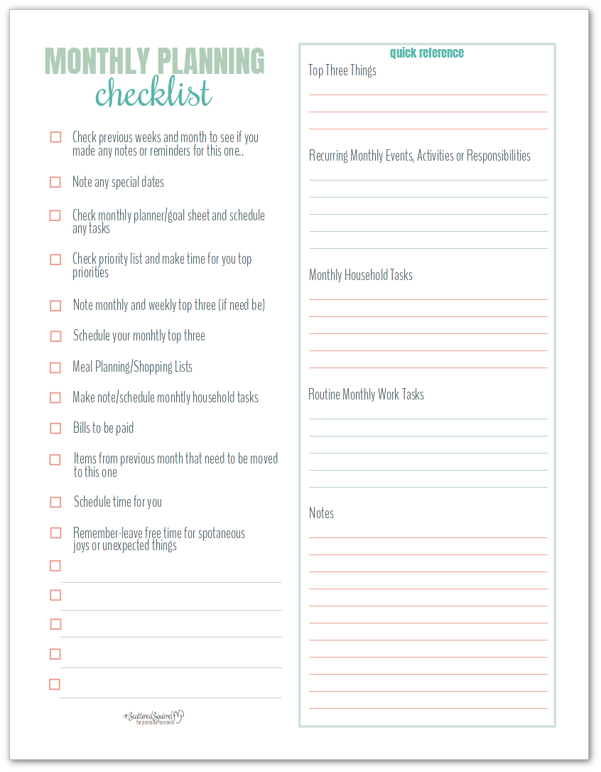 Monthly Planning Checklist makes planning a breeze