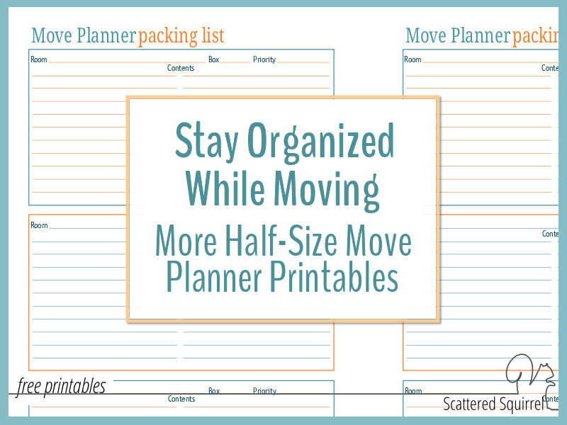 Stay Organized While Moving with More Half-Size Move Planner Printables