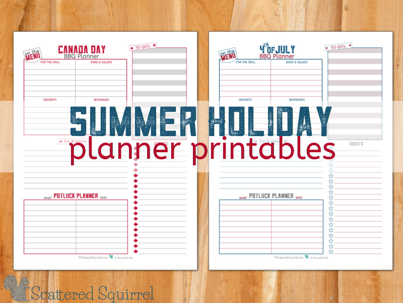 Plan a fantastic BBQ get together to celebrate your nation's birthday day with these holiday planner printables.
