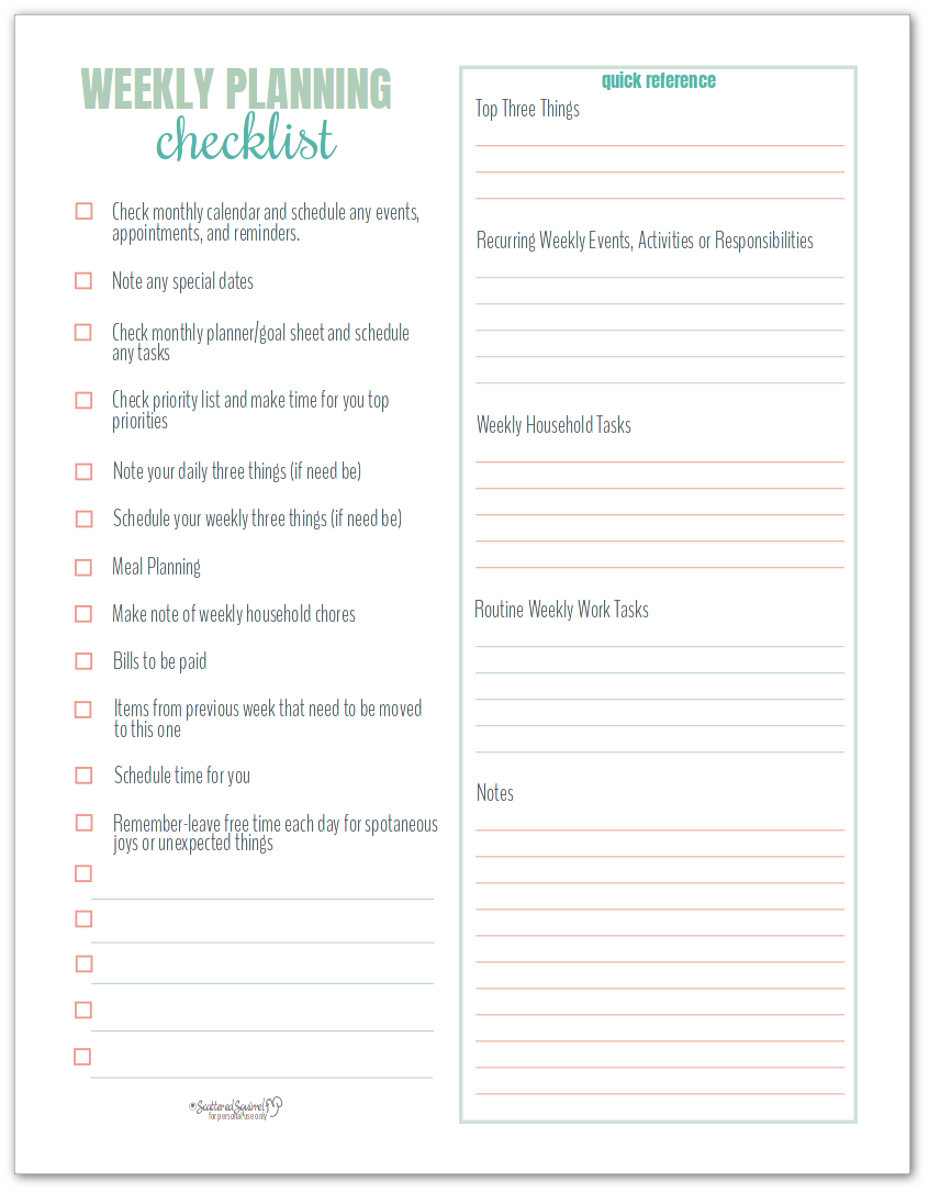 Weekly Planning Checklist makes weekly planning super easy