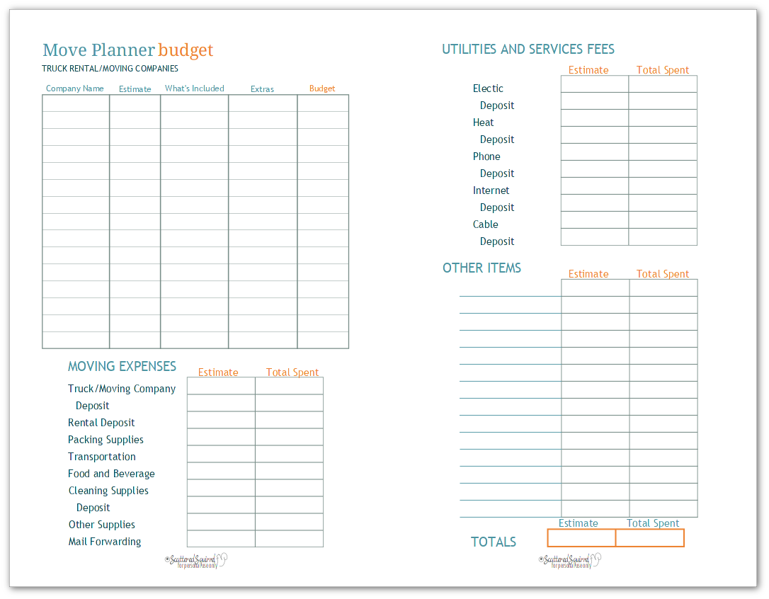 Half-Size - Moving Budget Worksheet