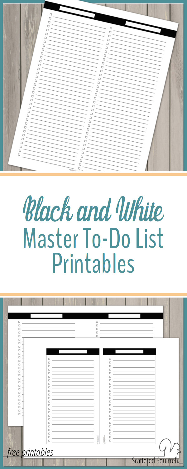 These black and white master to-do list printables are great for organizing your tasks into sections.