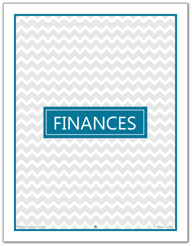 Home Management Binder/Finance Binder Cover Page