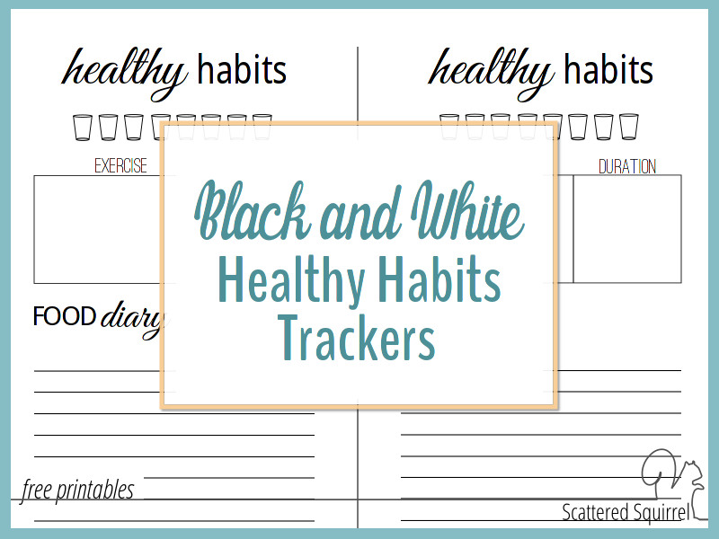 Black and White Healthy Habits Trackers
