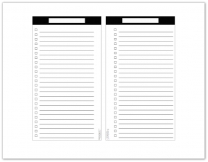 Personal Size - Black and White - Master To-Do List