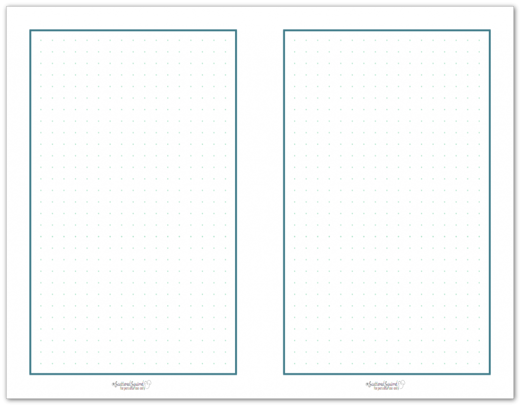 Half-Size dot grid paper featuring green dots in a blue border