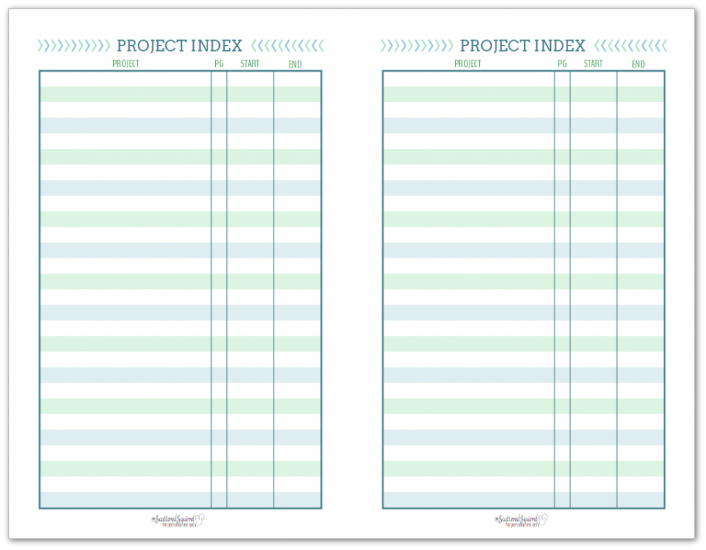 Half-Size Project Index, to help you keep track of the projects you're currently working on, ones you want to start, and ones you've finished.