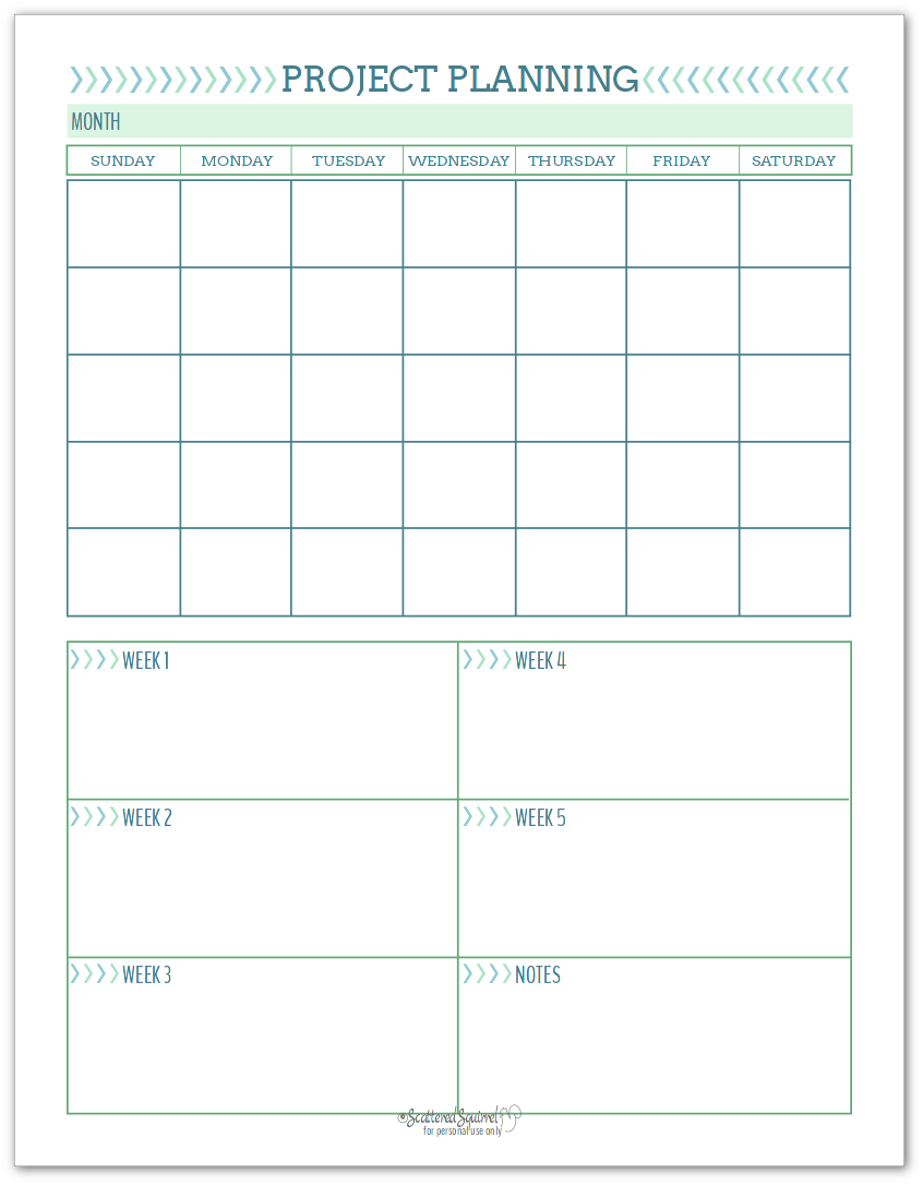 Project planning printable to help you plan how you're going to tackle your projects.