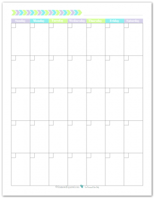 Blank monthly calendar printable with the weeks starting on Sunday. In a portrait layout with unlined boxes.