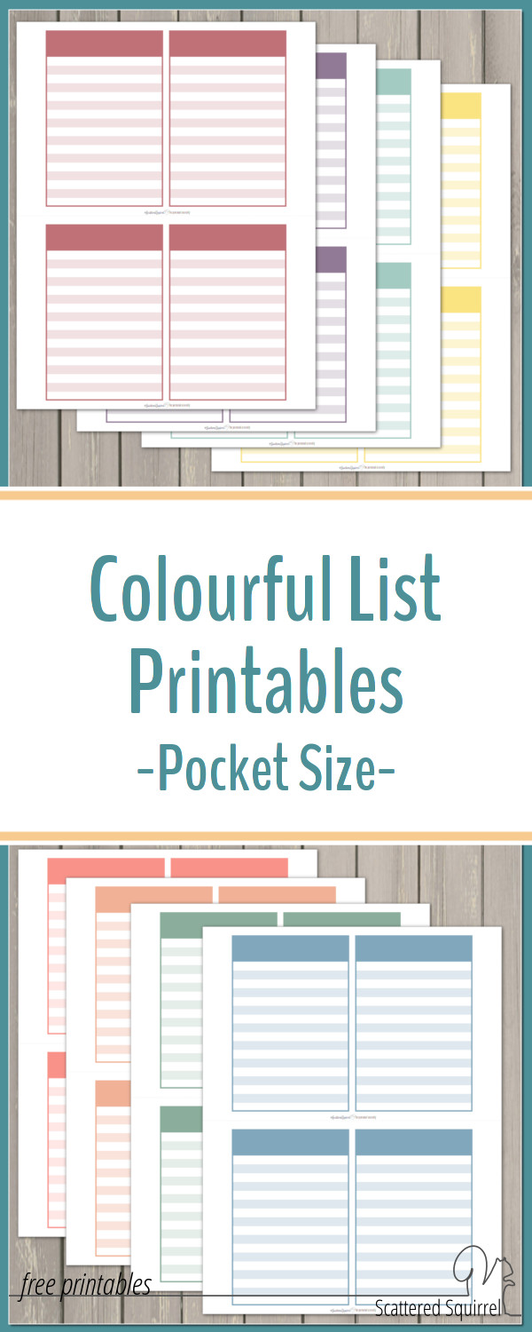 Colourful list printables can be used for lists, notes, project planning, goal setting, and anything else you can think of. Cut them out and stick in your planner, or follow the instructions in the post to turn them into a pocket sized notebook.