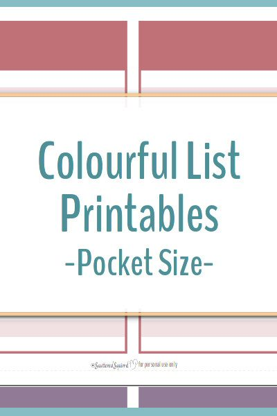 These colourful list printables are great for making lists, taking notes, goal setting and more. Use them on their own or turn them into a pocket size notebook.