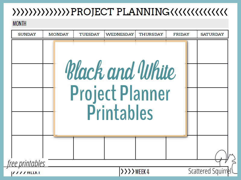 Black and White Project Planner Printables Printables in Full and Half-Size