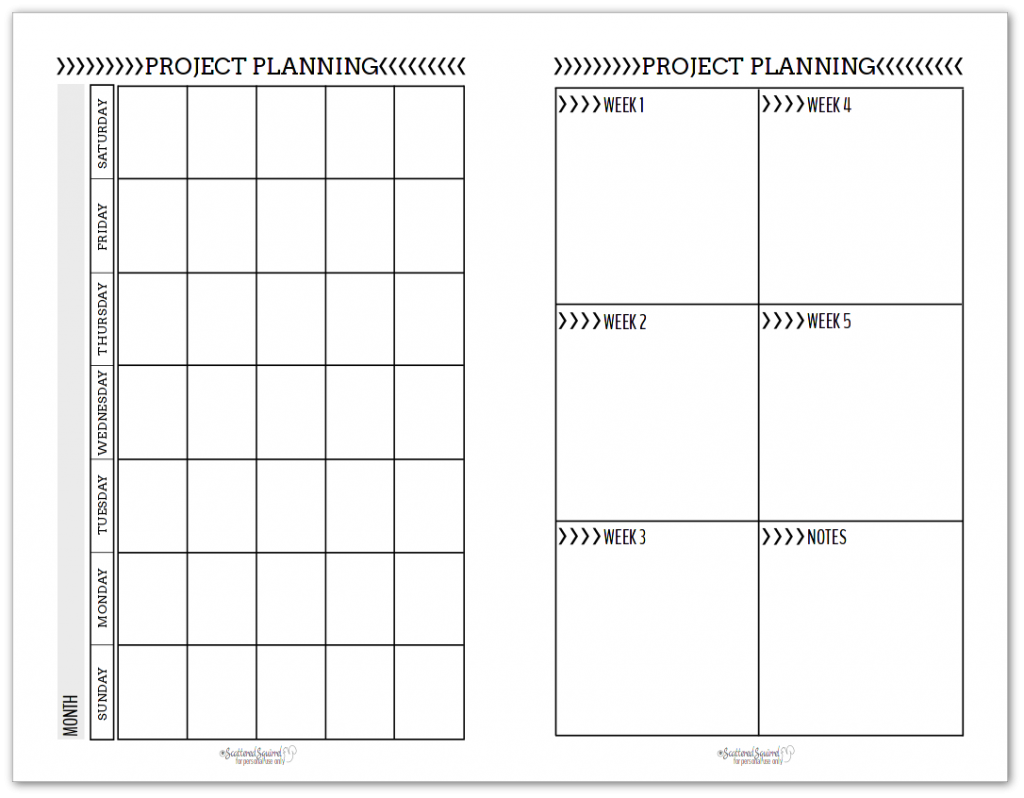 black and white half-size project planning