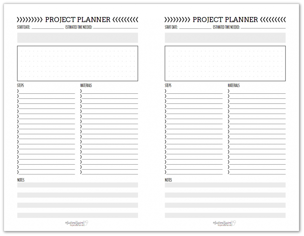 half-size black and white project planner