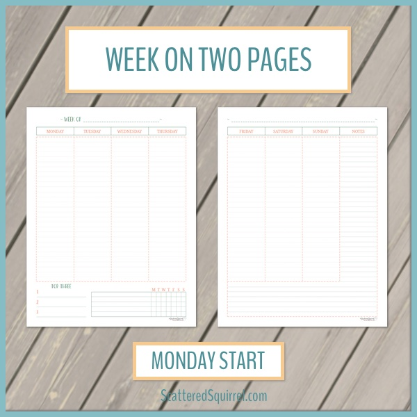 This printable set is a two page weekly layout with vertical columns. The week starts on Monday and the pages include room for your planning as well as a habit tracker and notes section.