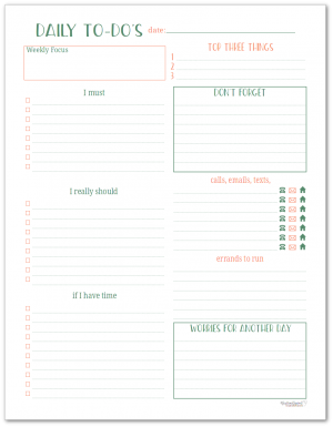 These daily to-do planners are great for organizing your tasks and errands each day.