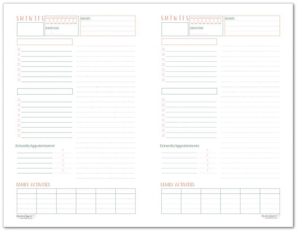 Half-Size daily planner and tasklist - lets you plan your day ad keep track of what your family has going on.