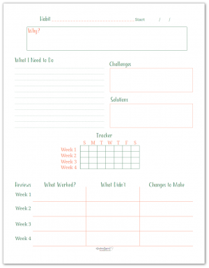 Building new habits can be challenging, this habit building worksheet and tracker was designed to help you focus in on building a habit that will stick.