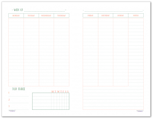 This half-size two page per week printable features a Monday start and offers room to plan your whole week and includes a habit tracker and notes section.