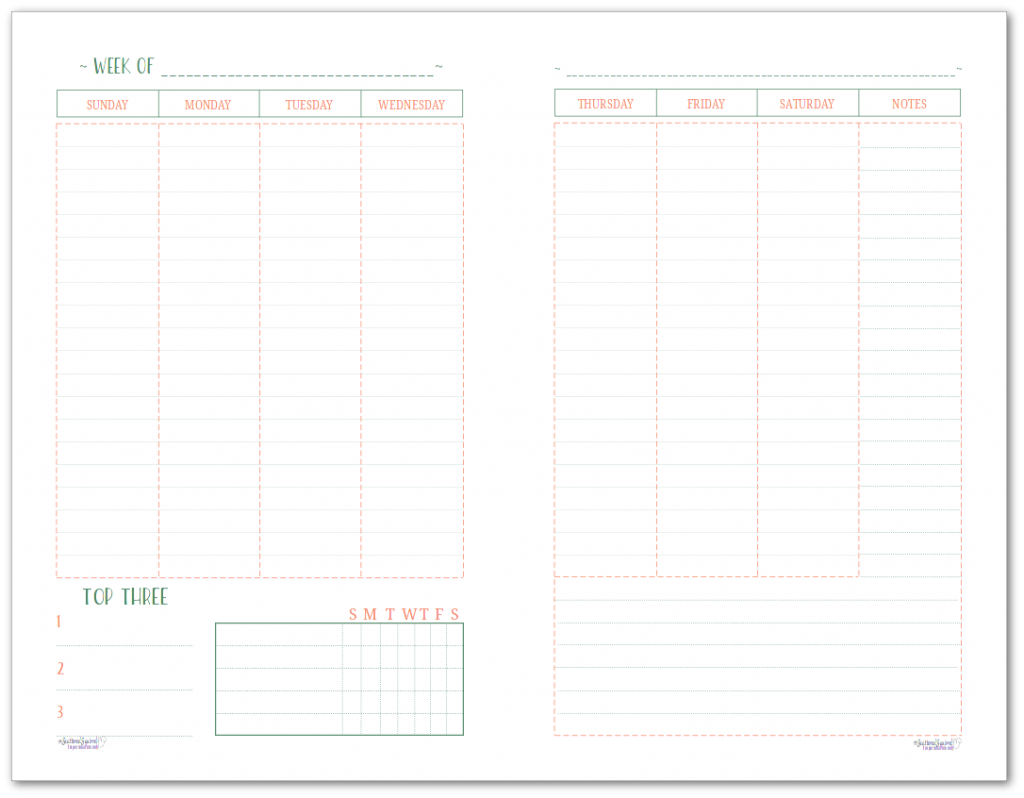 This half-size two page per week printable features a Sunday start and offers room to plan your whole week and includes a habit tracker and notes section.