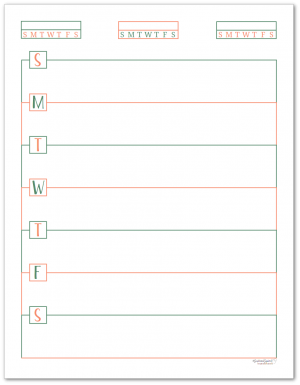 This single page weekly planner page starts on Sunday and features habit trackers at the top of the page.