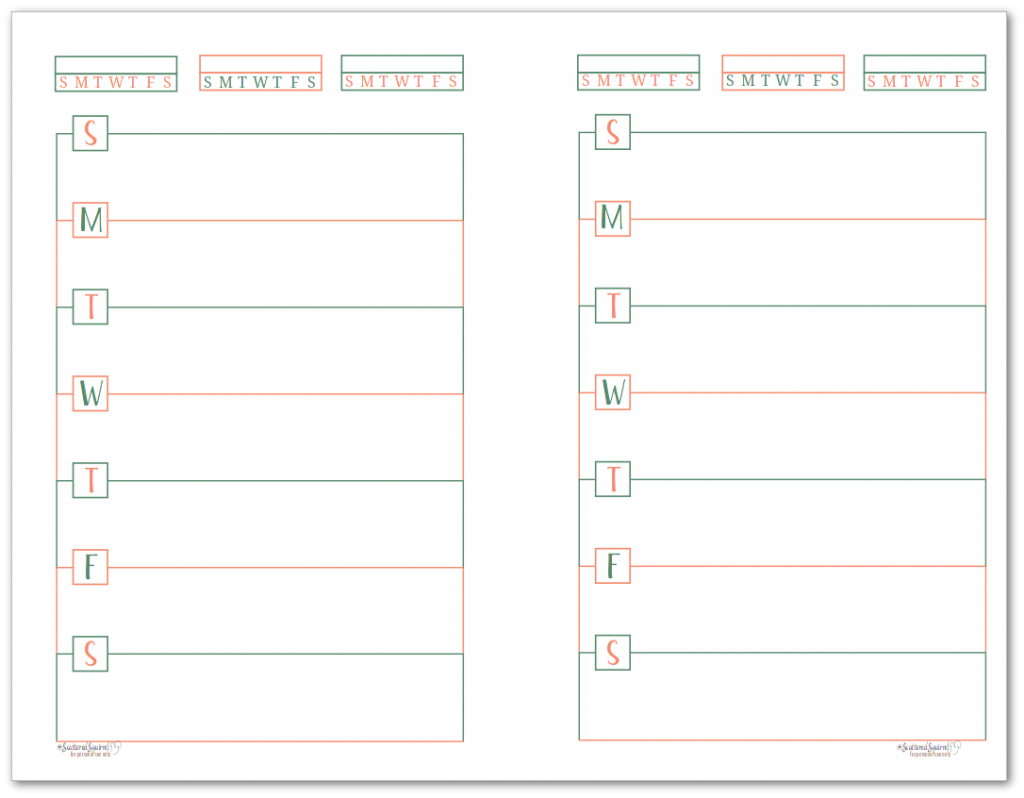 This half-size single page weekly planner page starts on Sunday and features habit trackers at the top of the page.