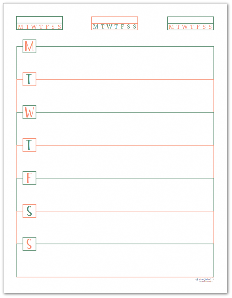 This single page weekly planner page starts on Monday and features habit trackers at the top of the page.