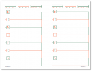 This half-size single page weekly planner page starts on Monday and features habit trackers at the top of the page.