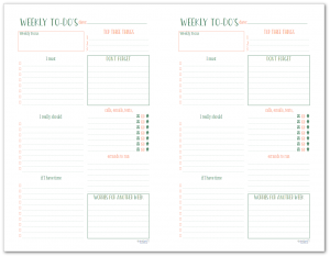 The half-size weekly to-do list planner page is perfect for organizing your tasks, errands, and priorities for the week.