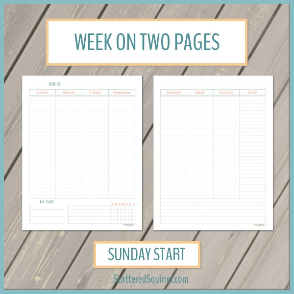 This printable set is a two page weekly layout with vertical columns. The week starts on Sunday and the pages include room for your planning as well as a habit tracker and notes section.
