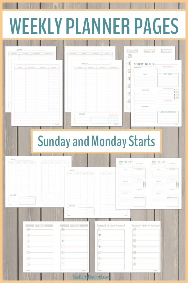 Weekly planner pages are great for see what you have going on each week. They allow you to plan your days, but still let you see an overview of what's coming up.