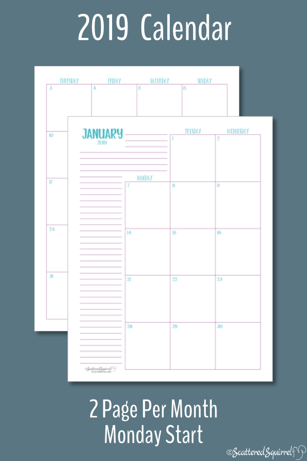 Dated 2019 calendar featuring two pages per month with a Monday start day.