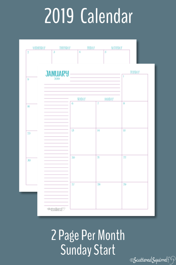 Dated 2019 calendar featuring two pages per month with a Sunday Start day.
