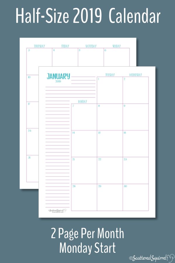 This printable, dated calendar for 2019 is half-size and features a Monday start day. Half-size printables fit most A5 planners.