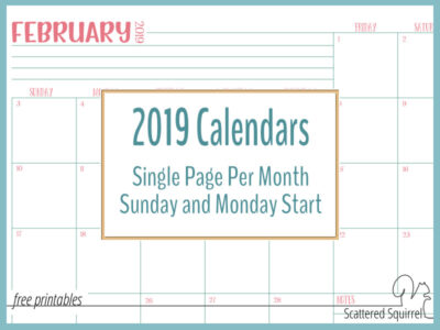 Single page per month, dated 2019 calendars in both full and half-size and your choice of Sunday or Monday start.