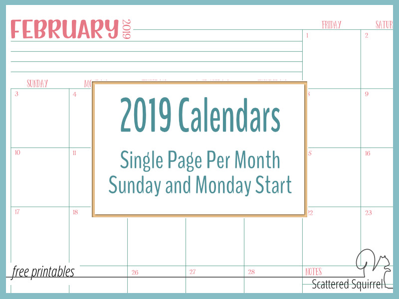 Single Page Dated 2019 Calendars With Sunday And Monday Starts