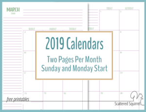 The Two Pages Per Month 2019 Calendars are Ready!