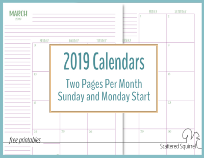 Printable 2019 calendars featuring two pages per month. They come in both full and half-size and your choice of a Sunday or Monday start day.