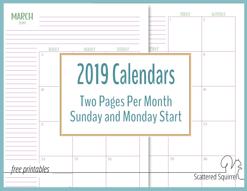 printable 2019 calendars featuring two pages per month they come in both full and half