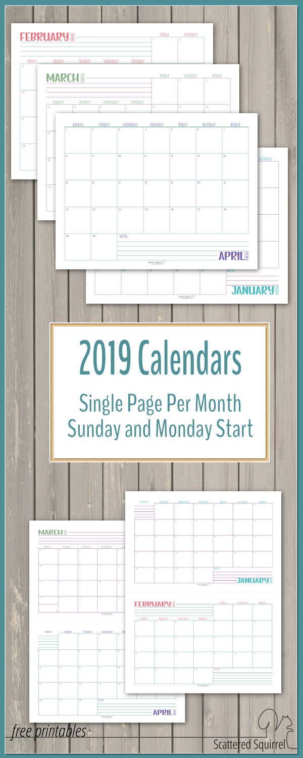 Free printable dated monthly calendars for 2019! These set feature one month per page and your choice of a Sunday or Monday start in full letter size or half letter size.