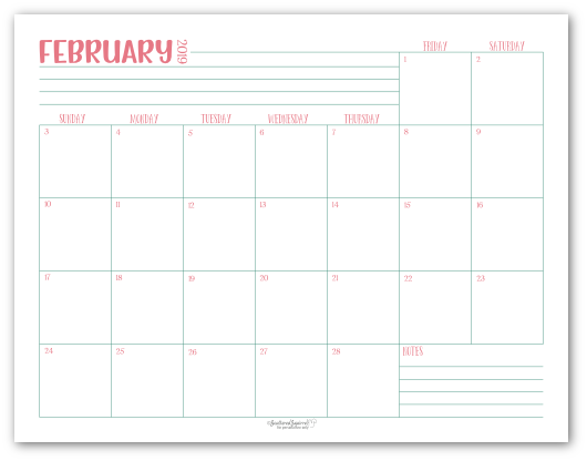 February 2019 monthly calendar in pink with green accents
