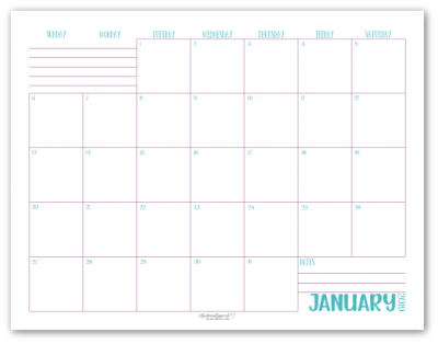 January 2019 monthly calendar in blue with purple accents