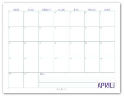 April 2019 monthly calendar in purple with green accents